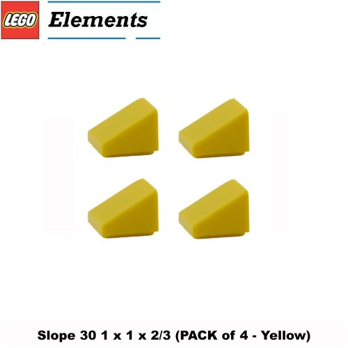 Lego Parts: Slope 30° 1 x 1 x 2/3 (PACK of 4 - Yellow)