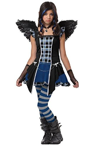 [Fancy Monster High Strangeling Raven Tween Halloween Costume] (Strangeling Devil Costume)