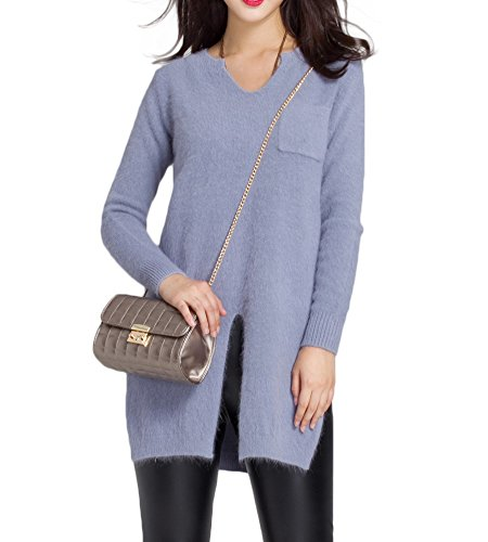 DRESHOW Womens Long Front and Side Split Sweater Size F Grey