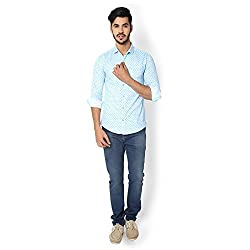 STRAK Mens' Pure Cotton Sky Blue Dotted Designer Boat Curve Style Shirt With Full Sleeve Size:-L/42