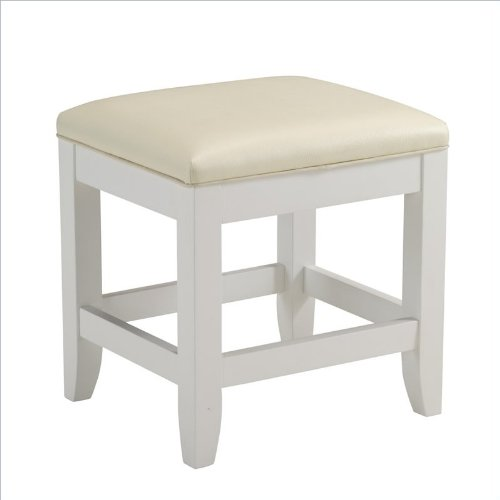 Home Styles 5530-28 Naples Vanity Bench, White Finish