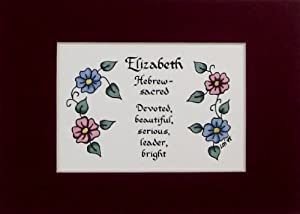 Personalized Girl Name Meaning Elizabeth Wall Picture Keepsake Gift