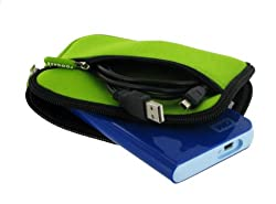 rooCASE SLV2 Neoprene Sleeve (ECO Green) Carrying Case for Iomega eGo 1.5TB Portable Hard Drive SuperSpeed USB 3.0 Midnight Blue 35330