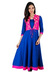 ESTYLe Ethnic Festive Collection - Dazzling Blue Anarkali With Overcoat Set