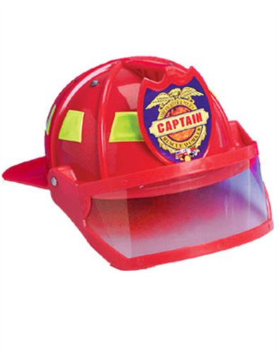 Deluxe Child Firefighter Hard Hat Toy Helmet & Visor - 1