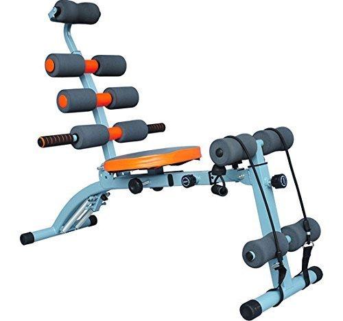 Homcom - Panca Fitness Multifunzionale per Addominali 6 Allenamenti in 1 Total Body - Grigio