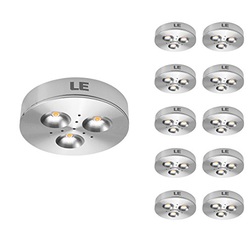 LE 10 Pack LED Under Cabinet Lighting, Puck Lights, 12V DC Under Counter Lighting, 25W Halogen Replacement, 240lm, Warm White, (Low Profile Cabinet Lights compare prices)