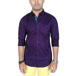 AA' Southbay Men's Purple Cotton Solid Casual Shirt (XXL)