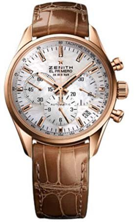 Zenith El Primer 36'000 VpH Mother of Pearl Dial 18kt Rose Gold Brown Leather Ladies Watch 18215040082C709