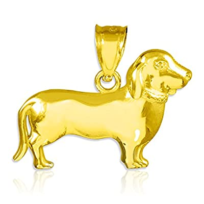 Polished 10k Gold Weiner Dog Charm Dachshund Pendant Necklace