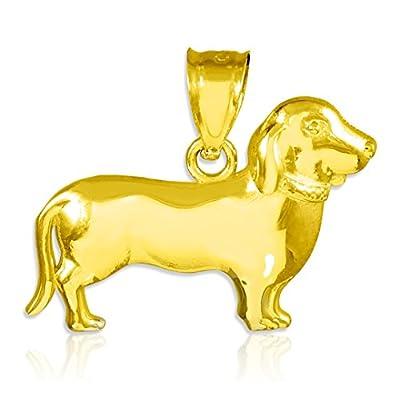Polished 10k Gold Weiner Dog Charm Dachshund Pendant Necklace