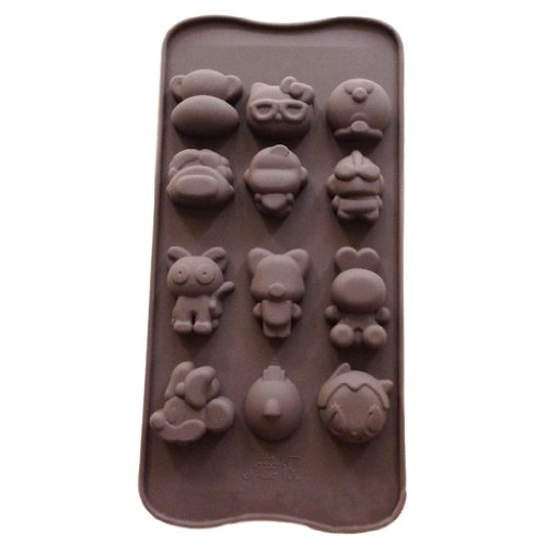 Wholeport Lovely Animal Cake Molds for Kids 12-Hole Silicone Baking Cake Mold Bakeware