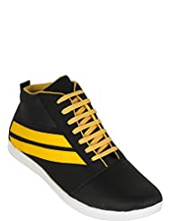 Zovi Men's Synthetic Black Textured High-ankle Casual Shoes With Yellow Highlights (10833500701)
