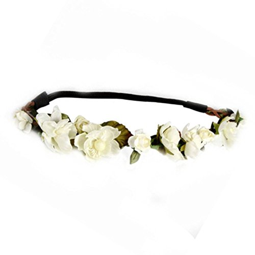 Floral Fall Cute Stretch Flower Crown Party Headband Wedding Hair Wreath F-003 Ivory