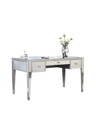 Mirage 3-Drawer Mirrored Desk, Silver Leaf As You See