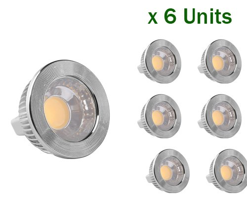 6-Pack Of Golden Sun Ul-Listed 5 Watt Mr16 Gu5.3 Bi Pin Led Cob Spot Bulb, 50W Equivalent, Ac/Dc 12V, 90 Degree, Dimmable With Led Compatible Dimmer And Transformer, Recessed Lighting, Track Lighting, 2700K Warm White