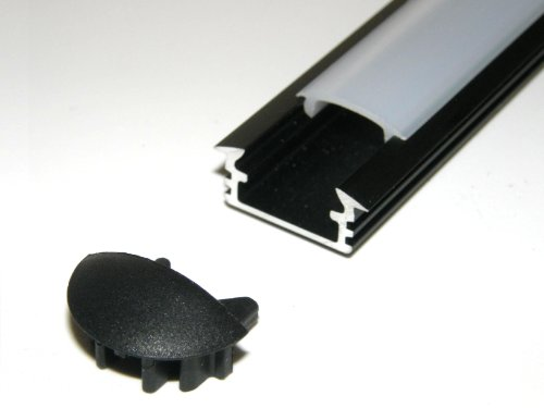 Aluminium Profile P1 For Led Strips / Tapes; Recessed, Anodized Black Finish, With Milky Cover And Two End Caps; 1M / 100Cm