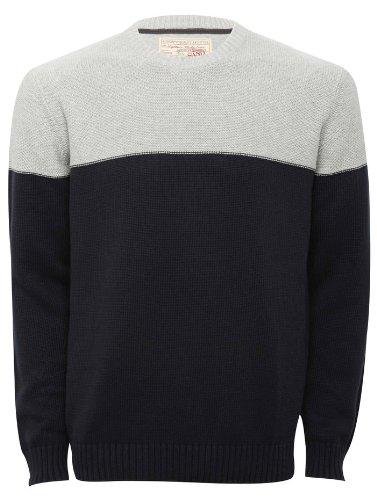 Mens long sleeve colour block knitwear jumper Airforce Blue XXL