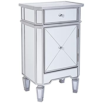 "Monarch Specialties I 3702, Accent Chest 1 Drawer 1 Cabinet, Mirrored, Brushed Silver Trim, 29"" H"