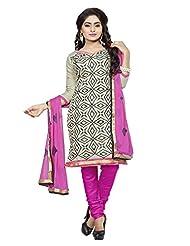 Divya Emporio Unstitched Cotton Silk Salwar Suit Dupatta(DE-014_Beige)