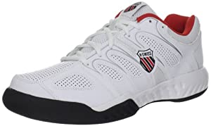 K-Swiss Calabasas, Chaussures de sport homme - Blanc (White/Black/Fiery Red), 45 EU (10.5 UK)