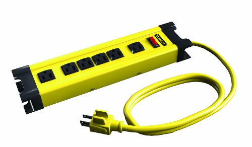 Stanley 31608 6-Outlet Metal Power Strip with 10-Foot Cord, Yellow