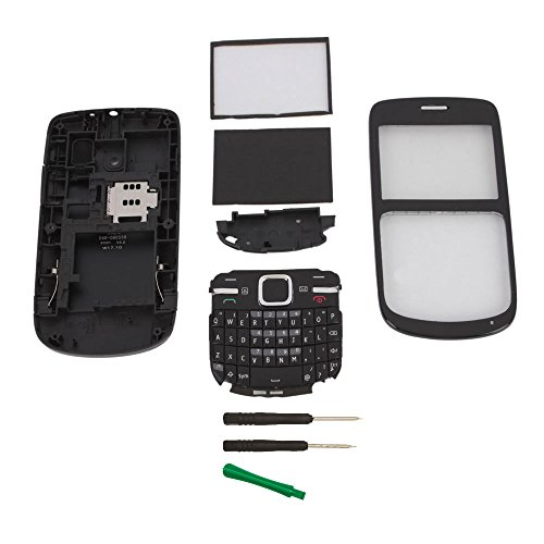 Black Full Housing Cover Case Replacement + Keypad + Tools For Nokia C3