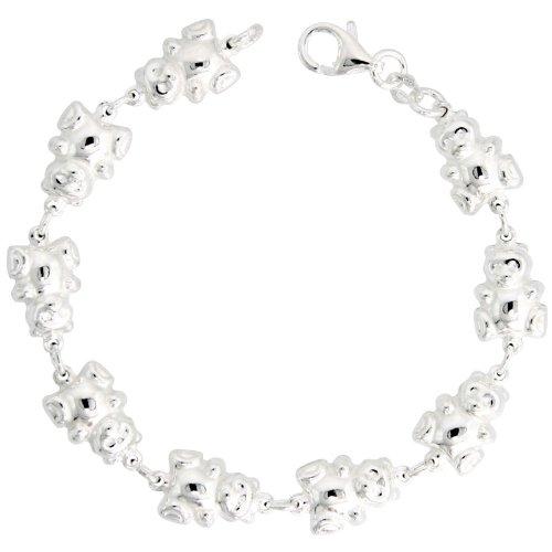 Sterling Silver Teddy Bear Link Bracelet, 3/8