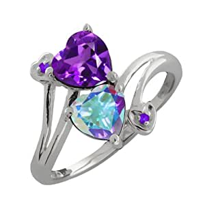1.82 Ct Heart Shape Purple Amethyst and Mystic Topaz Sterling Silver Ring