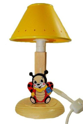 Tischlampe Lampe Stehlampe Tischleuchte Kinder Kinderzimmer Holz Marienkäfer 24cm hoch Nachttischlampe