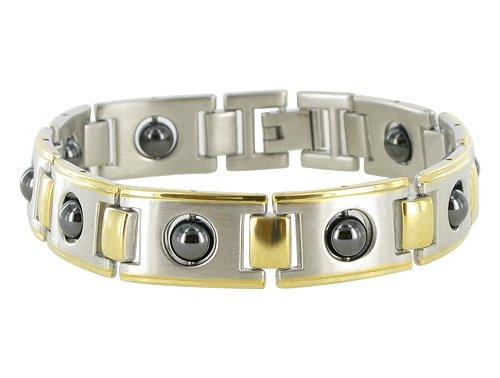 Stainless Steel Link Hematite Magnetic Bracelet 8.5″
