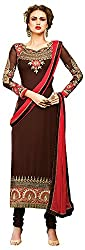 Go Traditional Women's Georgette Unstitched Dress Material (Brown)