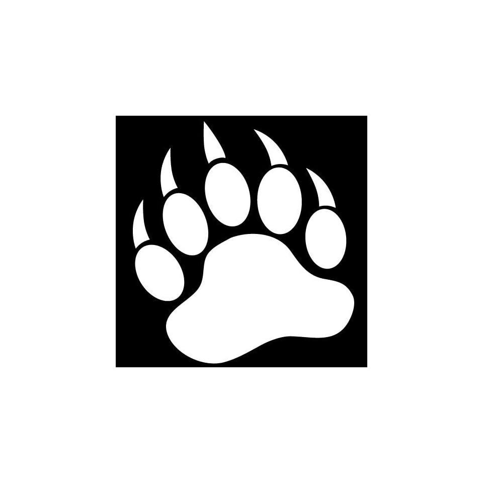 GRIZZLY BEAR PAW PRINT   Vinyl Decal Sticker 5 WHITE