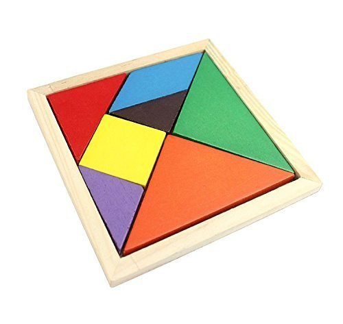 Wooden Tangram 7 Piece Puzzle Square Iq Game Brain Teaser Intelligent Toy - 1