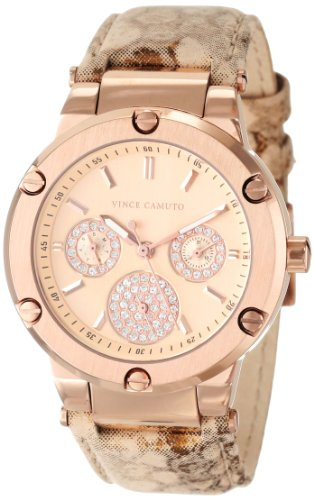 Vince Camuto Women's VC/5124RGGD Stainless Steel Swarovski Crystal-Accented Watch with Gold Leather Band