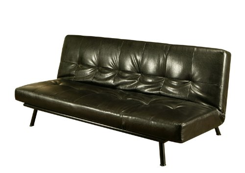 Black friday convertible futon sofa chaise in black bi - Chaise black friday ...