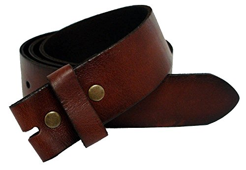 "BS-40 Vintage Full Grain Leather Belt Strap 1 1/2"" Wide (40, Brown)"