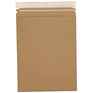 9 x 11.5 Brown Kraft Self Seal Stiff Photo Mailers - 100% Recycled - Envelope sold individually