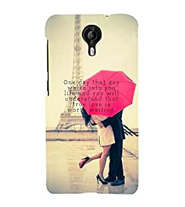 Vizagbeats Lovers at Eiffel Tower Back Case Cover for Micromax Canvas Nitro 4G E455
