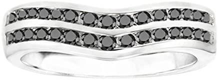Silver Amazing Anniversary Wedding Ring with Black Diamonds 03 ct twt