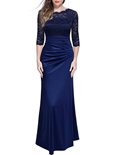 Miusol Women's Retro Floral Lace Vintage 2/3 Sleeve Slim Ruched Wedding Maxi Dress,Navy Blue,Medium