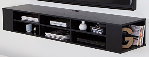 South Shore Furniture City Life Wall Mounted Media Console, 66-Inch, Black Oak