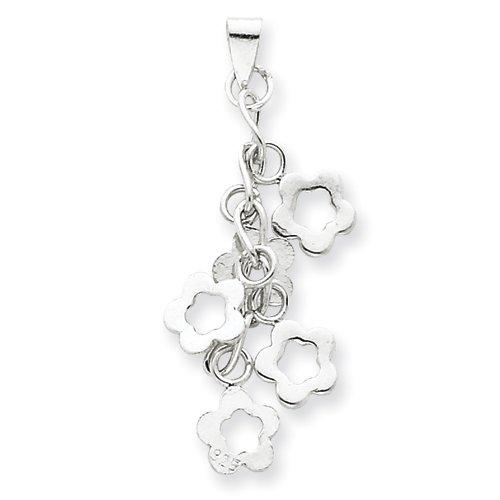 Sterling Silver Dangling Flowers Pendant