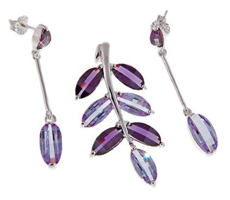 Stylish Jewellery: 925 Sterling Silver Twig, Purple - Violet Swarovski Crystals Stud Earrings & Necklace Set. Come With Sterling Silver Snake Chain - 42cm