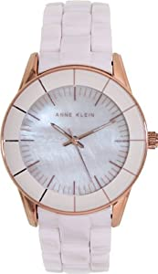 Anne Klein Women's AK-1360RGLP Pink Ceramic Analog Quartz Watch with Mother-Of-Pearl Dial