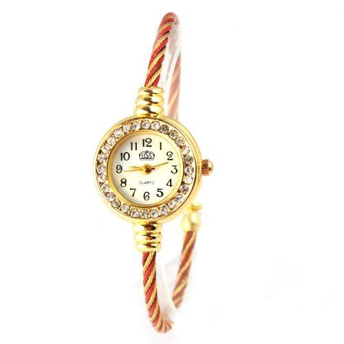 Yesurprise Fashion Women Lady Steel Wire Crystal Quartz Bracelet Bangle Wristwatch Gold-Red