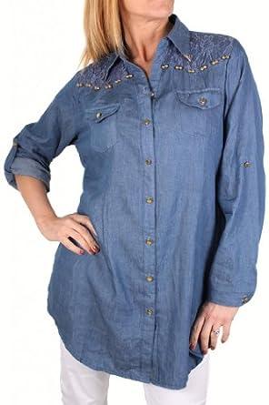 4006 3 Womens Plus Size Chambray Jean Shirt