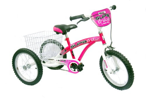 Pedal Pals Girl's Trike 100% Assembled Trike - Pink/White, 16 Inch