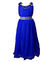 Motley Girls' Dress (6-7-M027_4-5 Years_Blue_4-5 Years)