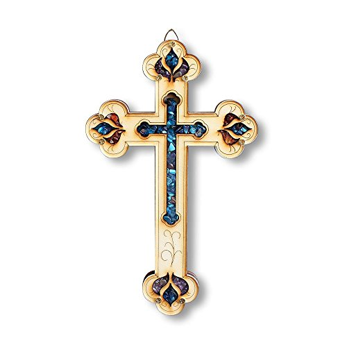 Wooden Christian Cross with Simulated Gemstones Wall Plaque Decor - Perfect Gift - Made in Israel